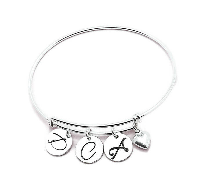 11f588179a715 Sterling Silver Initial and Birthstone Mom Charm Adjustable Bangle